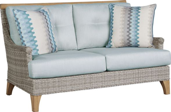Cindy Crawford Home Hamptons Cove Gray Outdoor Loveseat with Mist Cushions