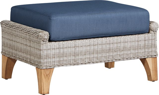 Cindy Crawford Home Hamptons Cove Gray Outdoor Ottoman with Denim Cushions