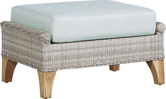 Cindy Crawford Home Hamptons Cove Gray Outdoor Ottoman with Mist Cushion