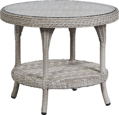 Cindy Crawford Home Hamptons Cove Gray Outdoor Round End Table
