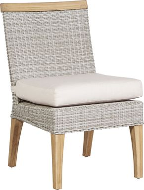 Cindy Crawford Home Hamptons Cove Gray Outdoor Side Chair with Flax Cushion