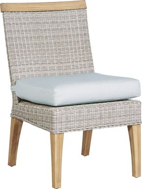 Cindy Crawford Home Hamptons Cove Gray Outdoor Side Chair with Mist Cushion