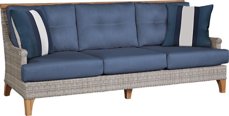 Cindy Crawford Home Hamptons Cove Gray Outdoor Sofa with Denim Cushions