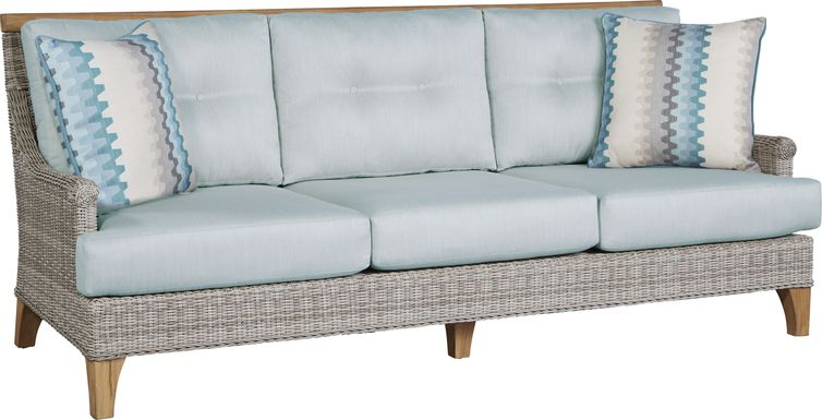 Cindy Crawford Home Hamptons Cove Gray Outdoor Sofa with Mist Cushions
