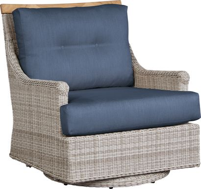 Cindy Crawford Home Hamptons Cove Gray Outdoor Swivel Chair with Denim Cushions