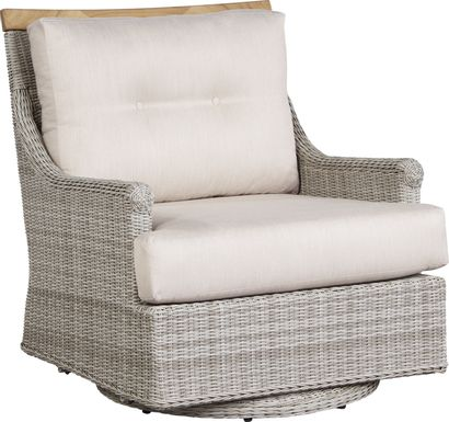 Cindy Crawford Home Hamptons Cove Gray Outdoor Swivel Chair with Flax Cushions