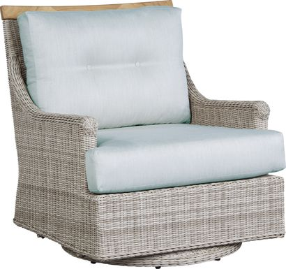 Cindy Crawford Home Hamptons Cove Gray Outdoor Swivel Chair with Mist Cushions