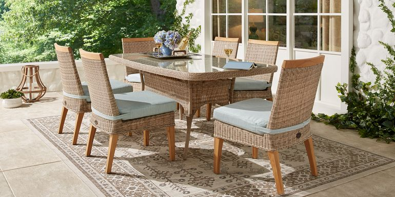 Cindy Crawford Home Hamptons Cove Gray 7 Pc Rectangle Outdoor Dining Set with Mist Cushions
