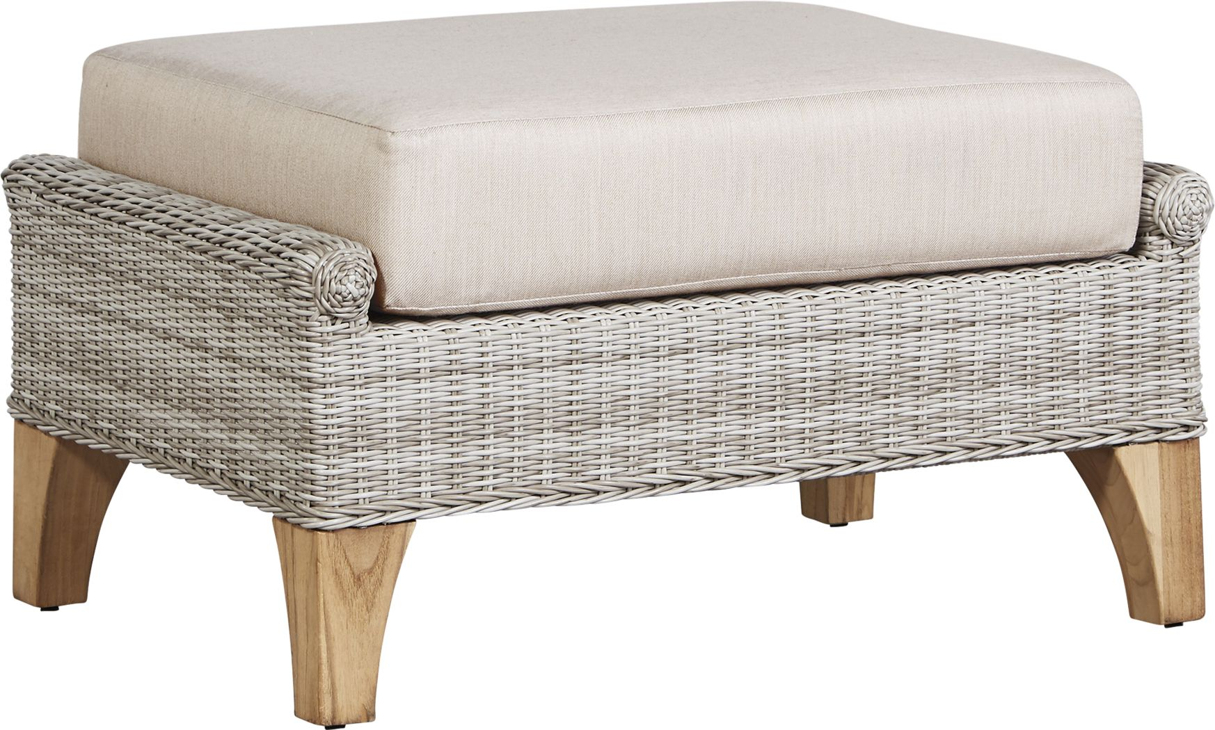 Cindy Crawford Home Hamptons Cove Gray Outdoor Ottoman with Flax Cushion
