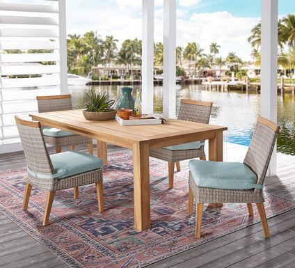 Cindy Crawford Home Hamptons Cove Teak 5 Pc Rectangle Outdoor Dining Set with Mist Cushions