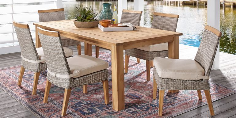 Cindy Crawford Home Hamptons Cove Teak 7 Pc Rectangle Outdoor Dining Set with Flax Cushions