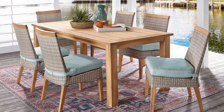 Cindy Crawford Home Hamptons Cove Teak 7 Pc Rectangle Outdoor Dining Set with Mist Cushions