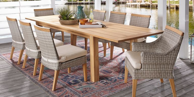 Cindy Crawford Home Hamptons Cove Teak 9 Pc Rectangle Outdoor Dining Set with Flax Cushions