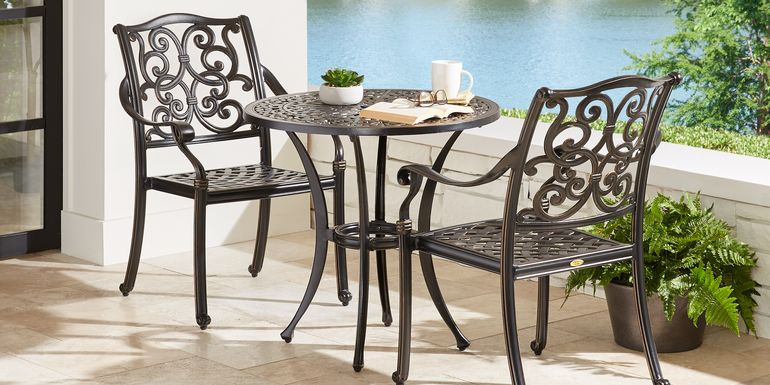 Cindy Crawford Home Lake Como 3 Pc Antique Bronze Round Outdoor Dining Set