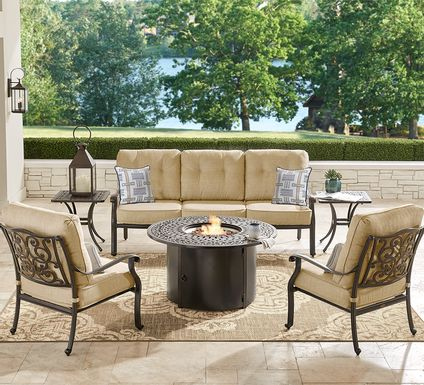 Cindy Crawford Home Lake Como Antique Bronze 4 Pc Outdoor Fire Pit Set with Gold Cushions