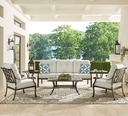 Cindy Crawford Home Lake Como Antique Bronze 4 Pc Outdoor Seating Set With Ash Cushions