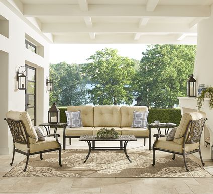 Cindy Crawford Home Lake Como Antique Bronze 4 Pc Outdoor Seating Set With Gold Cushions