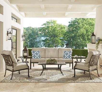Cindy Crawford Home Lake Como Antique Bronze 4 Pc Outdoor Seating Set With Mushroom Cushions