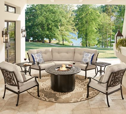 Cindy Crawford Home Lake Como Antique Bronze 4 Pc Sectional Fire Pit Set with Mushroom Cushions