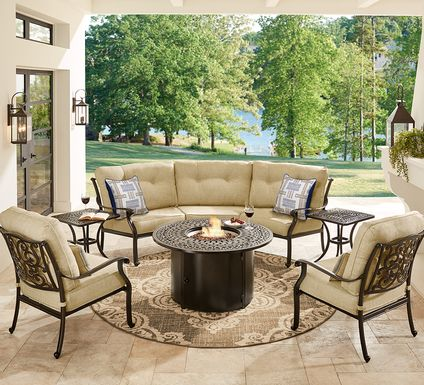 Cindy Crawford Home Lake Como Antique Bronze 4 Pc Sectional Outdoor Fire Pit Set with Gold Cushions