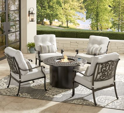 Cindy Crawford Home Lake Como Antique Bronze 5 Pc Outdoor Fire Pit Set with Ash Cushions