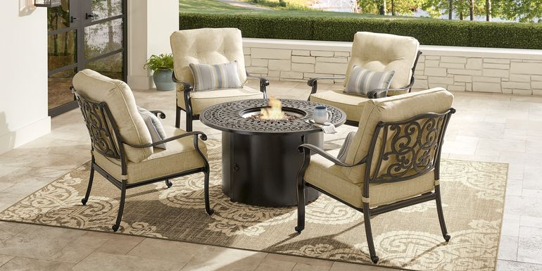 Cindy Crawford Home Lake Como Antique Bronze 5 Pc Outdoor Fire Pit Set with Gold Cushions