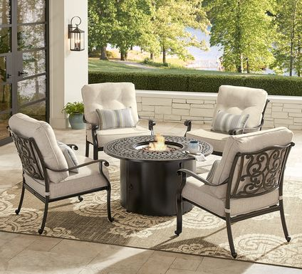 Cindy Crawford Home Lake Como Antique Bronze 5 Pc Outdoor Fire Pit Set with Mushroom Cushions