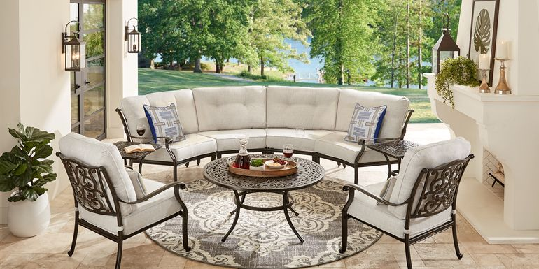 Cindy Crawford Home Lake Como Antique Bronze 5 Pc Outdoor Sectional Set With Ash Cushions