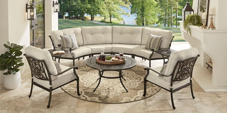 Cindy Crawford Home Lake Como Antique Bronze 5 Pc Outdoor Sectional Set With Cushions