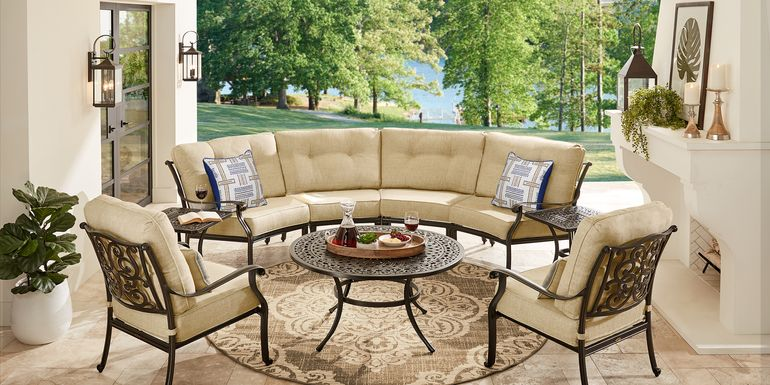 Cindy Crawford Home Lake Como Antique Bronze 5 Pc Outdoor Sectional Set with Gold Cushions