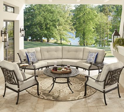 Cindy Crawford Home Lake Como Antique Bronze 5 Pc Outdoor Sectional Set With Mushroom Cushions