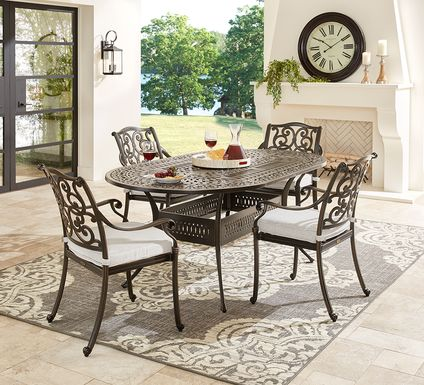 Cindy Crawford Home Lake Como Antique Bronze 5 Pc Oval Outdoor Dining Set with Ash Cushions