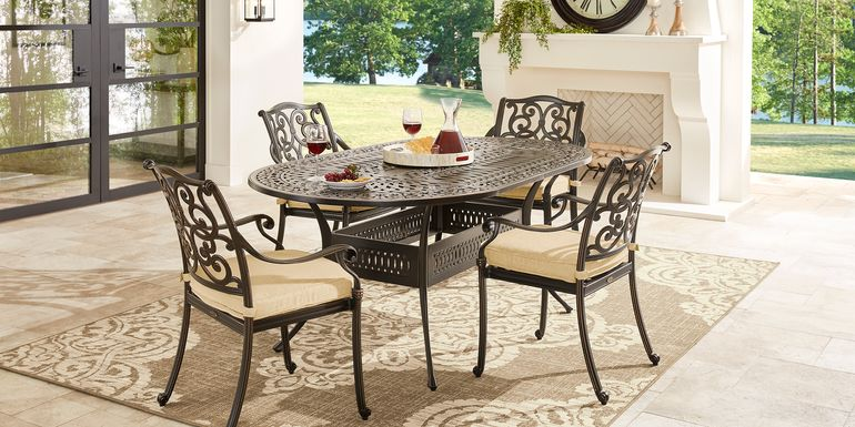 Cindy Crawford Home Lake Como Antique Bronze 5 Pc Oval Outdoor Dining Set with Gold Cushions