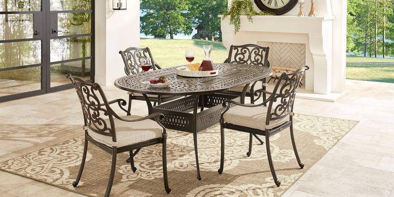 Cindy Crawford Home Lake Como Antique Bronze 5 Pc Oval Outdoor Dining Set with Mushroom Cushions