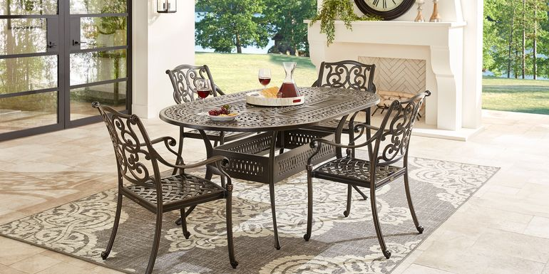 Cindy Crawford Home Lake Como Antique Bronze 5 Pc Oval Outdoor Dining Set
