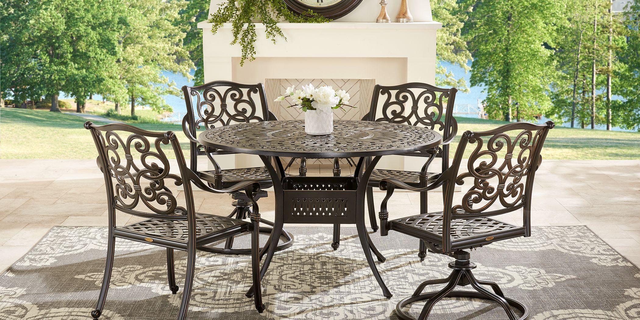 Cindy Crawford Home Lake Como Antique Bronze 5 Pc Round Outdoor Dining Set
