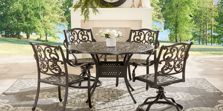 Cindy Crawford Home Lake Como Antique Bronze 5 Pc Round Outdoor Dining Set