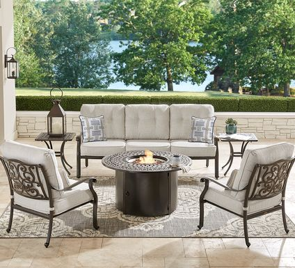 Cindy Crawford Home Lake Como Antique Bronze 6 Pc Outdoor Fire Pit Set with Ash Cushions