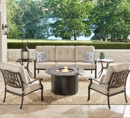 Cindy Crawford Home Lake Como Antique Bronze 6 Pc Outdoor Fire Pit Set with Mushroom Cushions