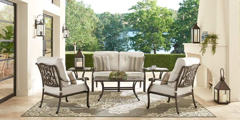 Cindy Crawford Home Lake Como Antique Bronze 6 Pc Outdoor Seating Set with Ash Cushions