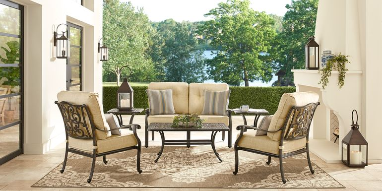 Cindy Crawford Home Lake Como Antique Bronze 6 Pc Outdoor Seating Set with Gold Cushions