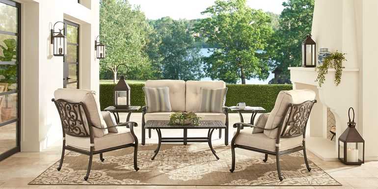 Cindy Crawford Home Lake Como Antique Bronze 6 Pc Outdoor Seating Set with Mushroom Cushions