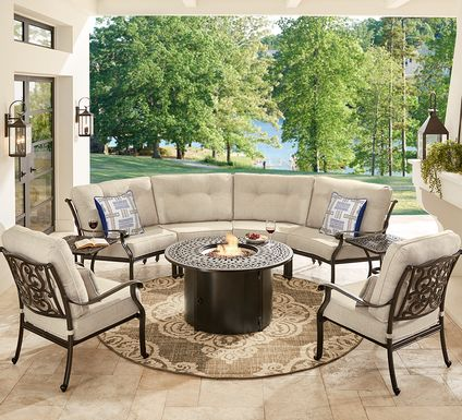 Cindy Crawford Home Lake Como Antique Bronze 5 Pc Sectional Fire Pit Set with Mushroom Cushions