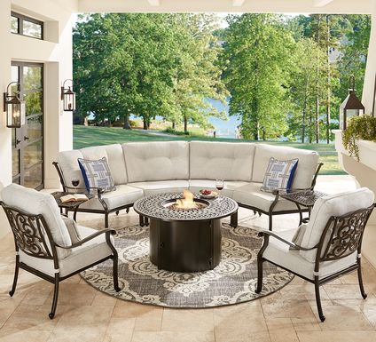 Cindy Crawford Home Lake Como Antique Bronze 5 Pc Sectional Outdoor Fire Pit Set with Ash Cushions