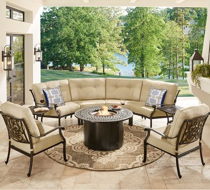 Cindy Crawford Home Lake Como Antique Bronze 5 Pc Sectional Outdoor Fire Pit Set with Gold Cushions