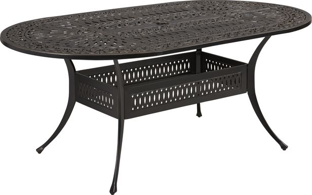 "Cindy Crawford Home Lake Como Antique Bronze 72"" Oval Outdoor Dining Table"