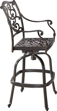 Cindy Crawford Home Lake Como Antique Bronze Outdoor Swivel Barstool