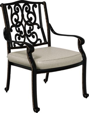 Cindy Crawford Home Lake Como Antique Bronze Outdoor Arm Chair with Ash Cushion