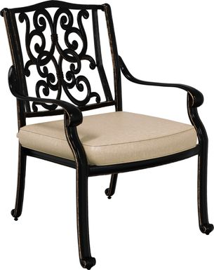 Cindy Crawford Home Lake Como Antique Bronze Outdoor Arm Chair with Mushroom Cushion