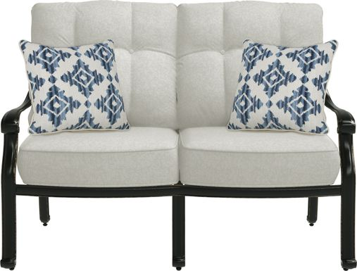 Cindy Crawford Home Lake Como Antique Bronze Outdoor Loveseat with Ash Cushions